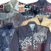 Collectable Stitched/embroidered Menand039s Leather Jacket Assorted Styles Color L
