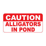 Caution Alligators In Pond Retro Vintage Style Metal Sign - 8 In X 12 In
