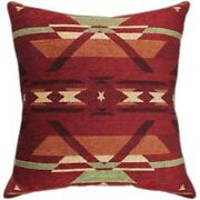 Set Of Two Flame Tapestry Chenille Southwest Pillows New 23x23