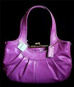 Nwt Coach Ergo Rose Pink Patent Leather Pleated Framed Satchel Tote Bag Purse