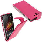 Pink Leather Flip Case For Sony Z Android Smartphone Cover Holder Bumper