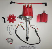 Small Cap Amc Jeep 67-90 290,304,343,360,390,401 Red Hei Distributor + 50k Coil