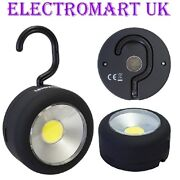 Cob Led Ultra Bright Round Magnetic Back Work Light Torch Hanging Hook Camping