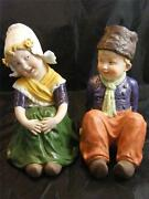 Pr Hand Painted Boy And Girl Bisque Porcelain Figurines
