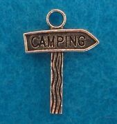 Camping Charm Camp Ground Sign Antique Silver Pendant