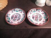 2 19th Century Polychrome Boch Freres Canton Saucers
