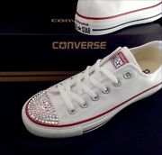 White Converse Crystal Bling Chuck Taylor Low All Star Sneaker Shoe W/