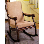 Liverpool Classic Rocker Rocking Chair Padded Fabric Seat Solid Wood Antique Oak