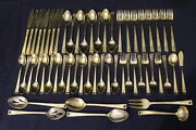56 Pc Vintage Stanley Roberts Gold Plated Stainless Flatware 8 Place Settings