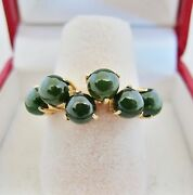 14k Yellow Gold Ring With 6 A Grade Green Nephrite Jade And Coa 4.6g, Size 7