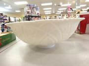 Pressed Milk Glass Punch Bowl And 9 Cups Concord By Mckee Depression