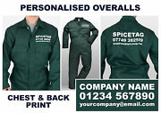 Personalised Overalls Bottle Green Coverall Custom Workwear Printed Boiler Suit