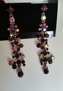 Bridal And Special Ocassion Austrian Crystal Amethyst Stud Dangle Earrings