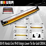 Emusa Lower Tie Bar For 88-95 Civic 88-91 Crx 93-97 Delsol 99-01 Integra Gold