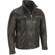Menand039s Black Rivet Leather Faded-seam Jacket Genuine Cowhide Leather - All Sizes