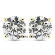 1.11 Tcw G-vs2 Ex Round Natural Diamonds 14ky Gold Prong Set Basket Earrings 5mm