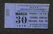 1978 Styx Concert Ticket Stub Terre Haute Indiana Come Sail Away Grand Illusion
