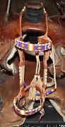 New Montana State Prison Native American Beaded Bridle/headstall
