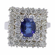 14k White Gold Oval Cut Blue Sapphire And Diamond Cocktail Ring 3.53 T.c.w