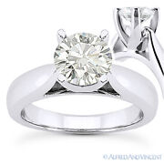 Round Cut Forever One D-e-f Moissanite 14k White Gold Solitaire Engagement Ring