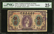 China Commercial Bank Of China Five Dollars 15.1.1920 Pick 3a Pmg 25 Vf Net