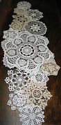 Lot Of 14 Hand Crochet Doilies 5-7-15 Wht And Natur Vtg Wedding Tea Party New