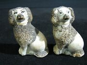 Pair Of Early 19th Century English Staffordshire Dog Figurines 3 3/8 Tall