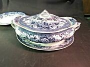 Keeling And Co Colwyn Oval Vegetable W/ Lid And Underplate Flow Blue Nice