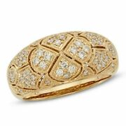 1/2ct Natural Diamond Vintage-style Dome Ring In 14k Gold