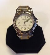 Mens Lucien Piccard Dufonte Quartz Wrist Watch Two Tone White Face Very Nice