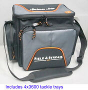 Field And Stream Soft Sided Fishing Tackle Bag W/ 4-3600 Organizer Stowaway Boxes