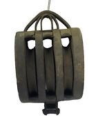 Antique Triple Barn Block And Tackle Wood Pulley - Boston And Lockport Block Co