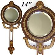 Antique French Empire Revival Style 14 Hand Or Vanity Mirror Bronze Mahoghany