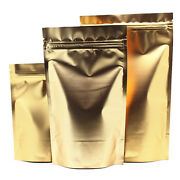 Stand Up Gold Mylar Foil For Zip Pouches Bags Lock Reclosable Food Grade Package