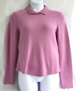 Talbots Collection Pure Cashmere Sweater Pink Purple Long Sleeve Collar Ret 178