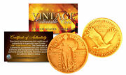 1916-1930 Original 24k Gold Plated Standing Liberty Pure Silver Us Quarter Coin