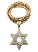 New Iced 6 Point Star Of David Pendant 4mm 36 Franco Chain Necklace Ss064