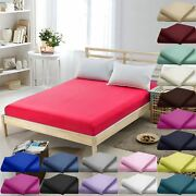 Luxury Dyed Plain Fitted Bed Sheets Polycotton Casual Mattress Cover Beddings