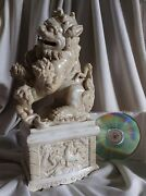 Big Antique Chinese White Hollow Out Porcelain Foo Dog Lion Cubs Kids Wild Horse