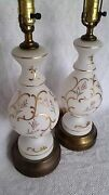Pair Bristol Blown Glass Table Lamps Hand Painted Floral Pierced Bronze Bases