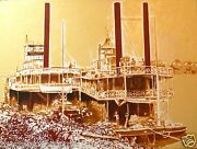 Acrylic Painting By Mauricio Lema, Colombian Artist, Ships On River Magdalena