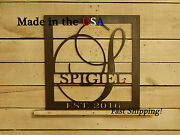 36 Square Monogram With Name Est. Date- Ranch Or Farm Gate Sign Ds1066