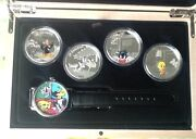 Wb Looney Tunes 4-coin Collection With Wrist Watch Complete With Coa
