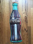 Vintage Coca Cola Metal Sign With Thermometer