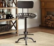 Tractor Seat Bar Stool With Backrest Cast Iron Stool Adjustable Height Farmhouse