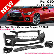 For 14-17 Infiniti Q50 4dr Jdm Red Sport 400 Style Front Conversion Bumper Cover