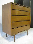 Mid Century Five-drawer Walnut Chest With Unique Legs And Aluminium Stretchers