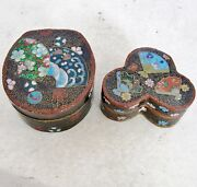 2 Sm Antique Japanese Meiji Cloisonne Trinket Boxes With Flowers And Fans 2.75