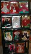 Lot Of 1988 - 1998 Happy Holiday Barbies - Complete Set Free Shipping