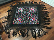 Antique Chinese Qing / Republic Silk Embroidered Shawl / Coverlet W/ Floral Dec.
